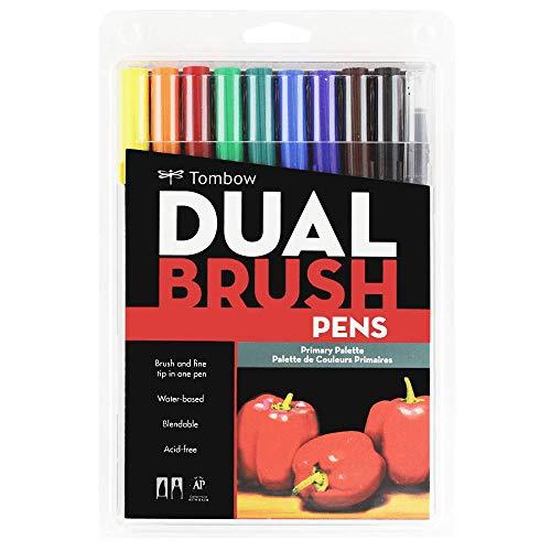 Estojo Dual Brush com 10 Canetas Pincéis, Cores Primárias