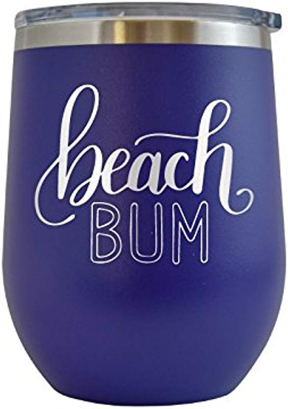 Beach Bum Engraved 12 Oz Wine Tumbler Cup Glass Etched Funny Gifts For Him Her Mom Dad Husband Wife Purple 12 Oz