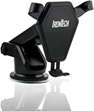 Iron Tech 4 in 1 Dashboard & Windshield QI Wireless Charging Car Mount Phone Holder for iPhone X 8 Plus 7 6s SE Samsung Galaxy S9 S8 Edge S7 S6 Note 8 & other Smartphone