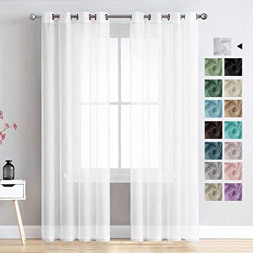 MRTREES Voile Gardinen Vorhang halbtransparent kurz mit Ösen in Leinenoptik Stores Gardinen Schals für Wohnzimmer Schlafzimmer Kinderzimmer Weiß 225×140cm (H×B) 2er Set