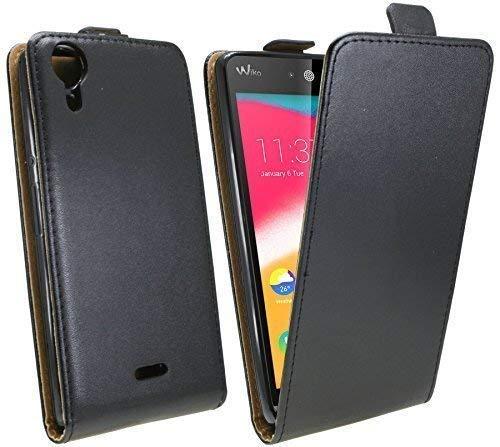 ENERGMiX Klapptasche Schutztasche kompatibel mit Wiko Rainbow Jam in Schwarz Tasche Hülle