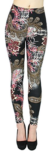 dy_mode Blumen Muster Leggings Damen Treggings Jeggings Flower Print Leggins One Size Gr. 36-42 - JL012 (One Size 36-42, JL211-Phoenix)