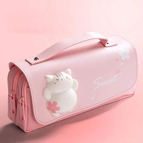 Sakura - Estuche de piel sintética para lápices Kawaii, para escuela, niña, con diseño de gato, color rosa