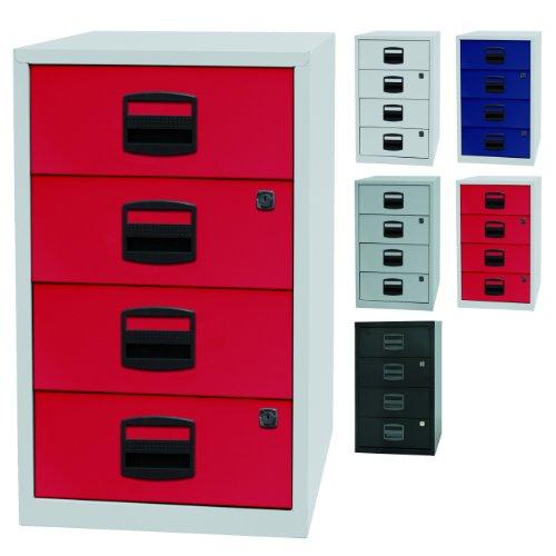 PFA bijzetkast, voor kantoor met 4 schuifladen van metaal, geschikt voor cd's, afsluitbaar, 5 kleuren Lichtgrau/Kardinalrot