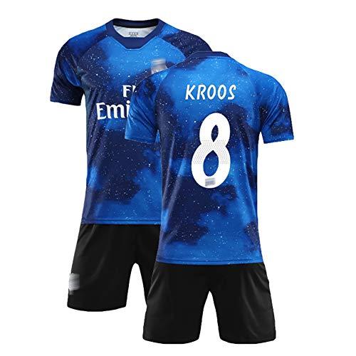 Sommer Fußballanzug für Ramos 4 Varane 5 Kroos 8, Kinder- und Herrenfußballuniformen, Trainingsuniform, kann wiederholt gewaschen Werden, das Beste Geschenk-No8-20