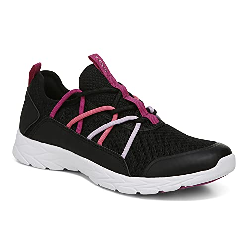 Vionic Women's Brisk Zeliya Slip-on Walking Shoes - Ladies Supportive Active Sneakers That Include Three-Zone Comfort with Orthotic Insole Arch Support, Medium and Wide Fit Black and Pink 6 Medium US