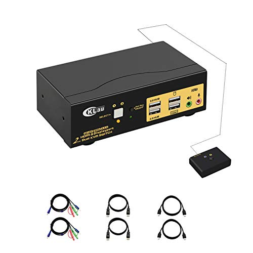 CKLau 4Kx2K@60Hz 2 Port HDMI + Displayport Dual Monitor KVM
