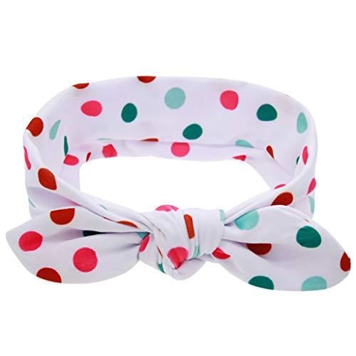 Lazzboy Stirnbänder Halloween Und Weihnachten Kinder Baby Printing Rabbit Ears Bow Elastisches Stirnband Mädchen Haarband Knoten Turban Für Babys Newborn(Weiß)
