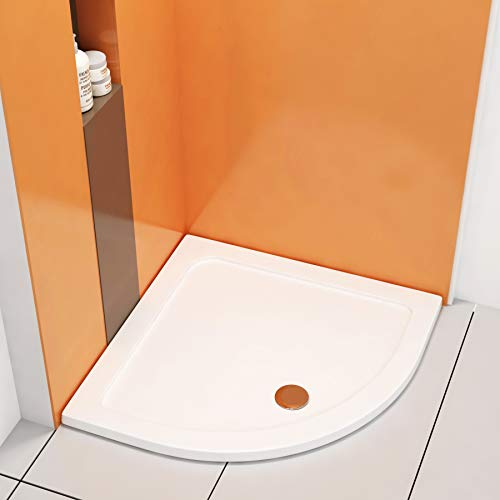 Quadrant 900 x 900mm White Pearlstone Shower Enclosure Tray-Height 40mm + Free Waste