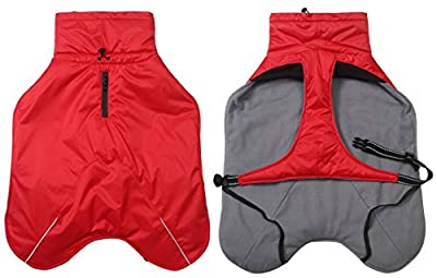 babepet Dog Coats Waterproof, Dog Winter Coat with Chest Strap, Outdoor Dog Apparel with Adjustable Bands and Drawstring in winter - Red -S