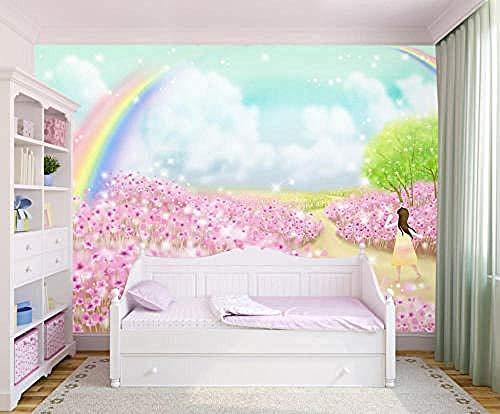 Mural Fotos Papel pintado Imágenes Hermoso arco iris Flor rosa Autoadhesivo PVC Papel pintado 3D Vintage Peluquería Pared Pintado Decoración dormitorio Fotomural sala sofá pared mural-200cm×140cm