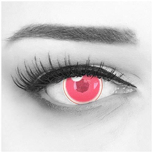 Farbige Pinke Kontaktlinsen 1 Paar Anime Pink Circle Lenses Heroes Of Cosplay Stark Deckend. Jahreslinsen für Kostüme, Halloween, Fasching, Karneval mit gratis Linsenbehälter - Ohne Stärke