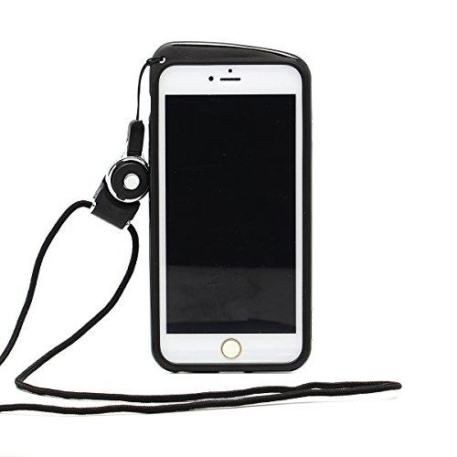 Foxnovo Teléfono Parachoques Marco Funda con Colgante Cuello Correa de Cuerda para el iPhone 6 4.7 Pulgadas - Negro