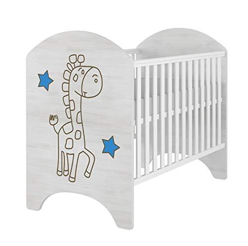iGLOBAL - Cuna para bebé con rejilla, juego completo con 2 peldaños, colchón de espuma de 3 alturas y fibras de coco de 120 x 60 cm blanco Jirafa azul.