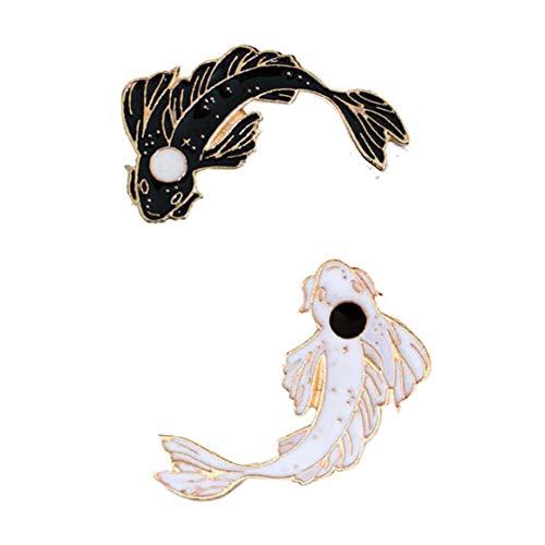 Bontand 2ST / Set Nette Fisch-Emaille Revers Pin Set Cartoon Koi Brosche Abzeichen Für Kleidung Taschen Rucksäcke Schwarz Weiß Farbe