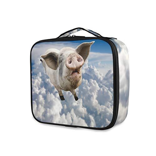 Toilettas, draagbare gereedschappen, cosmetische trekkoffer, make-up tas, reizen, varken, vliegende wolken hemel lief