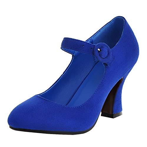 Femany Damen Mary Jane High Heels Pumps mit Blockabsatz und Riemchen Geschlossen Schuhe (Königsblau,34)