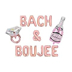 """Include 11 pcs rose gold letter balloons spell out """"Bach & Boujee"""" & 1 pcs Engagement Ring Balloon. Balloons are ship out in a flat condition, separated letters. The foil balloons will not look like picture until filled up with air. After inflated, l..."""