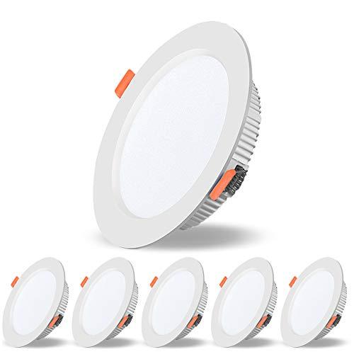 COMY Foco Empotrable LED 9W Luz de Techo, Equivalente a Incandescente 90W, AC 110V 230V 720Lm LED Downlight para Iluminación Hogar, No Regulable, Paquete de 6,Natural White 4000k
