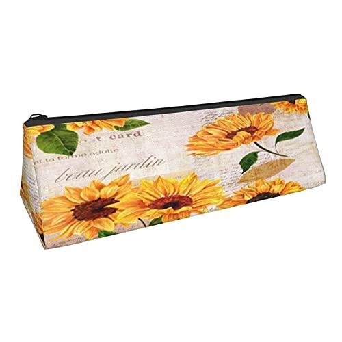 Vintage Suower mariposa pintura al óleo triángulo lápiz lápiz bolsa durable papelería caso para mujeres cosméticos bolsa
