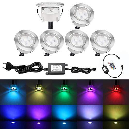 QACA 6er LED Einbauleuchten Bodeneinbaustrahler RGB Deckenspot Einbaustrahler Deckenleuchte Wasserdicht IP67 Einbaulampe 0,2W~0,5W Ø45mm Außenleuchten für Küche Garten Treppen Balkon Terrasse
