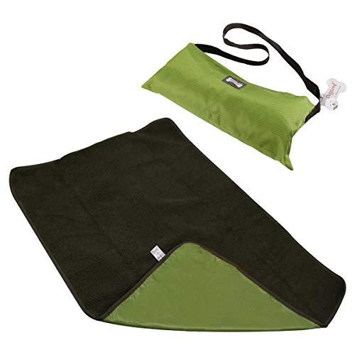 FancyWhoop Hundedecke - Flauschig, Weich und Waschbar,Decke für Haustier wasserdichte und Plüsch Hundedecke Matte mit Tragetasche für Hund Welpen Katze Innen Draussen Anwendungen-100 X 70cm Grün