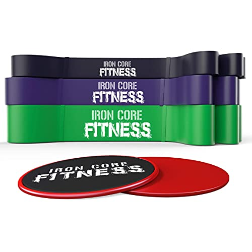 Band and Slider Home Workout Set. Total Body Workout and Home Fitness Kit. Ab Fitness Core Sliders Trainer with Premium Gym Quality Resistance Bands. Exercise, Stretch, Mobility and Bench Work.
