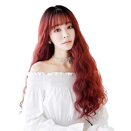 XinQuan Wang Perruque pour femme Cheveux longs bouclés ondulés Style coréen