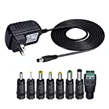 SoulBay 12V 1A AC Adapter Charger Replacement w/8 Tips, Regulated Power Supply Cord for LED Strip Light, CCTV Camera, BT Speaker, GPS, Webcam, Router, DC12V Transformer with ETL Certificate