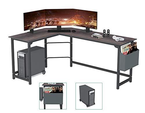 SZXKT Home Office Desk,Computer Corner Desk, Reversible L Shaped Gaming Desk PC Table with Storage Bag Space-Saving Wooden Table Writing Large L Study Workstation Modern Simple Multi-Usage Desk