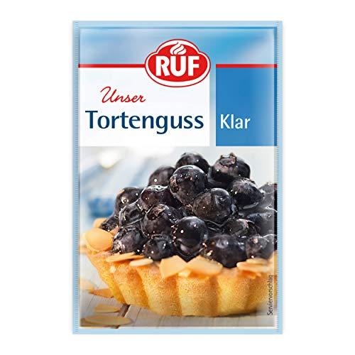 RUF Tortenguss klar ohne Gelatine zuckerfrei für Obstboden, 3er Pack (3 x 12g)