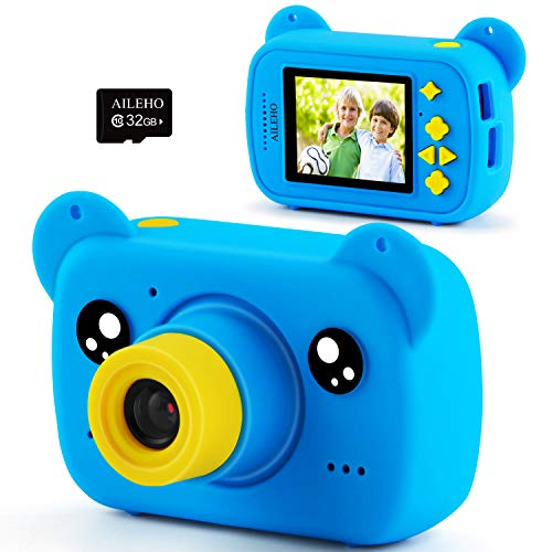 AILEHO Kids Camera for Boy Blue Bear Cartoon Birthday Children Toy Toddler Camera 3-10 Year Old Starter Kids Digital Camera 8M 1080P with 32G Card Kids Game Camera LCD Screen 2.0'