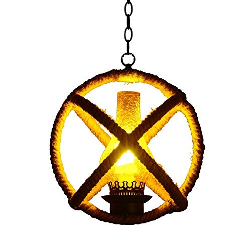Chandelier de granja Retro ático Cuerda de cáñamo Hierro forjado Archilla de araña Vintage Kerosene Techo Colgante Lámpara Lámpara Bar Dormitorio Decoración de la cocina Drop Light E27 Arañas modernas