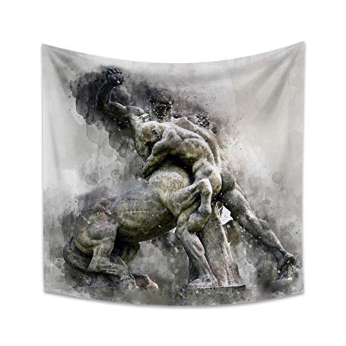 Yongto 59.1x59.1 inches Greek Mythology Tapestry Naked Warrior Centaur Fighting Blurry Print Tapestry Wall Hanging Medieval Art Males Battle Power Wall Tapestry for Bedroom Living Room Men Room Decor