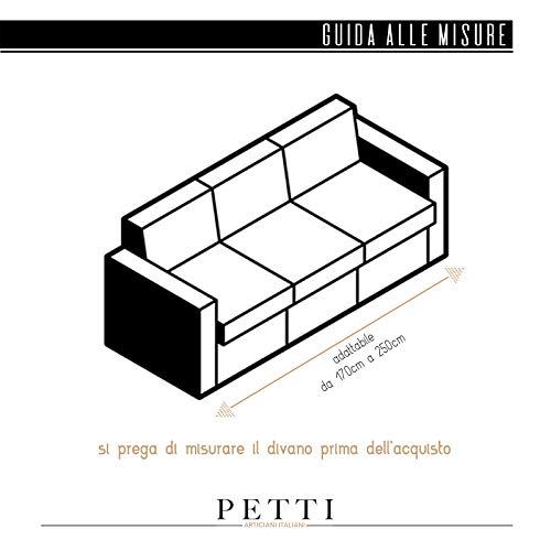 PETTI Artigiani Italiani - Copridivano, Copridivano Elasticizzato, Copridivano 3 Posti, Grigio, Tessuto Jaquard, 100% Made in Italy