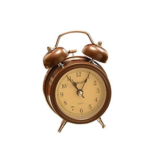ZRJ Clásico Twin Bell Reloj de Alarma Silencioso Sin Tictac Econipe con Funciones de Luz Reloj de Alarma Analógico para la Oficina de Dormitorio Moda (Color : Brown2)