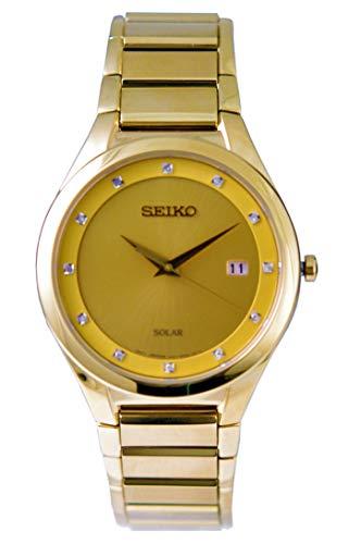 Seiko SNE384P9 - Orologio da polso da uomo a energia solare placcato oro con diamanti