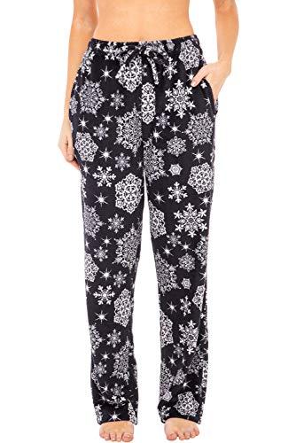 Alexander Del Rossa Women's Warm Fleece Pajama Pants, Long Lounge Bottoms, Medium Blue Winter Snowflakes (A0432V77MD)