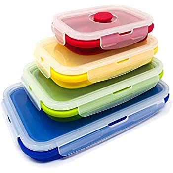 Set of 4 Collapsible Silicone Food Storage Container, Leftover Meal box For Kitchen, Bento Lunch Boxes, BPA Free, Microwave, Dishwasher and Freezer Safe. Foldable Thin Bin Design Saves Your Space.