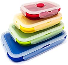 Set of 4 Collapsible Silicone Food Storage Container, Leftover Meal Box for Kitchen, Bento Lunch Boxes, BPA Free, Microwav...
