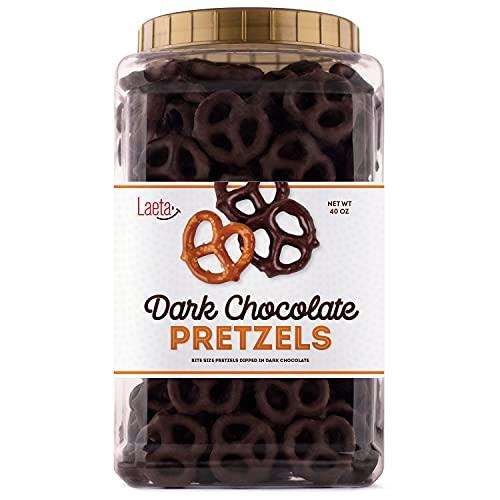 Dark Chocolate Covered Pretzel, Salted Pretzels in Mildly Sweet Smooth Dark Chocolate, 40 Ounces