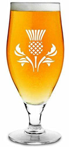 500ml Ergab Bier Glas mit Schottische Distel Design & personalisiert mit Ihrem Namen oder Text (bis zu 20Zeichen)