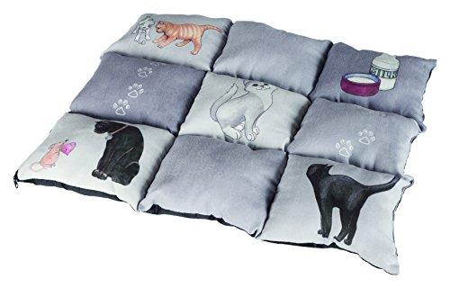 Trixie Colchoneta para Gatos Mascotas - Alfombra para Gatos Manta para Mascotas Cojin para Gatos Cálida Protección Patchwork 45 x 55 cm Gris