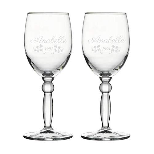 Copa de vino, personalizada, grabada - elegante - 2 vasos (2)
