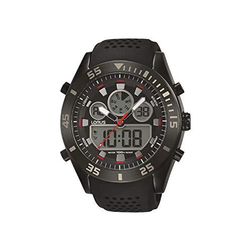 Lorus Sport Herren-Uhr Chronograph Edelstahl und Kunststoff mit Silikonband R2335LX9