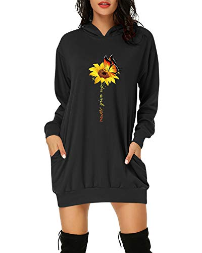 Auxo Women Long Sleeve Floral Printed Hoodies Jumpers Casual Oversized Tunic Pullover Sweatshirt Mini Dress Long Hooded Tops 03-Sunflower Black M