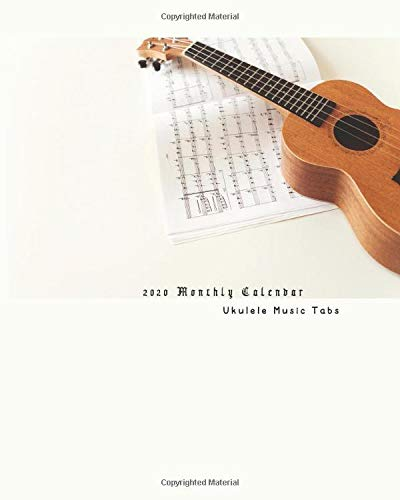 2020 Monthly Planner Ukulele Music Tabs: Organizer Diary with Ukulele Tab Music Paper for Songwriting Chord Boxes and Lyric Lines Tab Notebook Journal : Brown Ukulele Guitar Sheet Music Theme