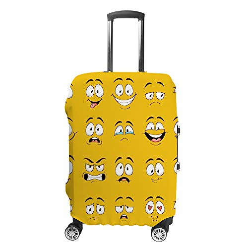 HAOXIANG Travel Luggage Covers Cartoon Faces Suitcase Covers Protector Bag Washable 19-21Inch