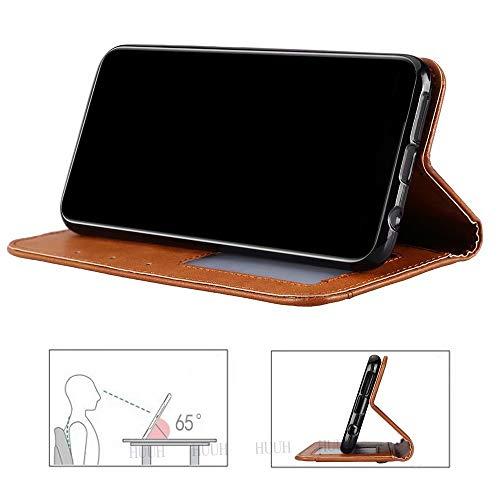 HUUH Hülle für Huawei P40 Pro,Handyhülle Vintage Leder,Bracket-Funktion,Kartensteckplatz Brieftasche Design,Hochwertiges PU-Leder,Magnetschnalle(schwarz) - 4