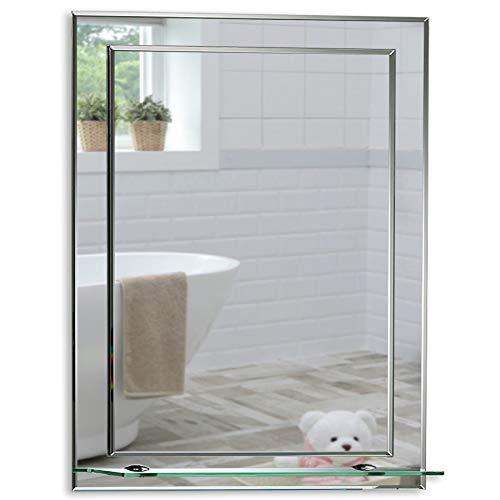 Schöner rechteckiger Badezimmerspiegel mit Ablage, modern und stylish, 2 Lagen Glass, mit abgerundeten Kanten, Wandbefestigung, Badspiegel, Wandspiegel, abgeschrägte Kante, Spiegel 50cm x 40cm